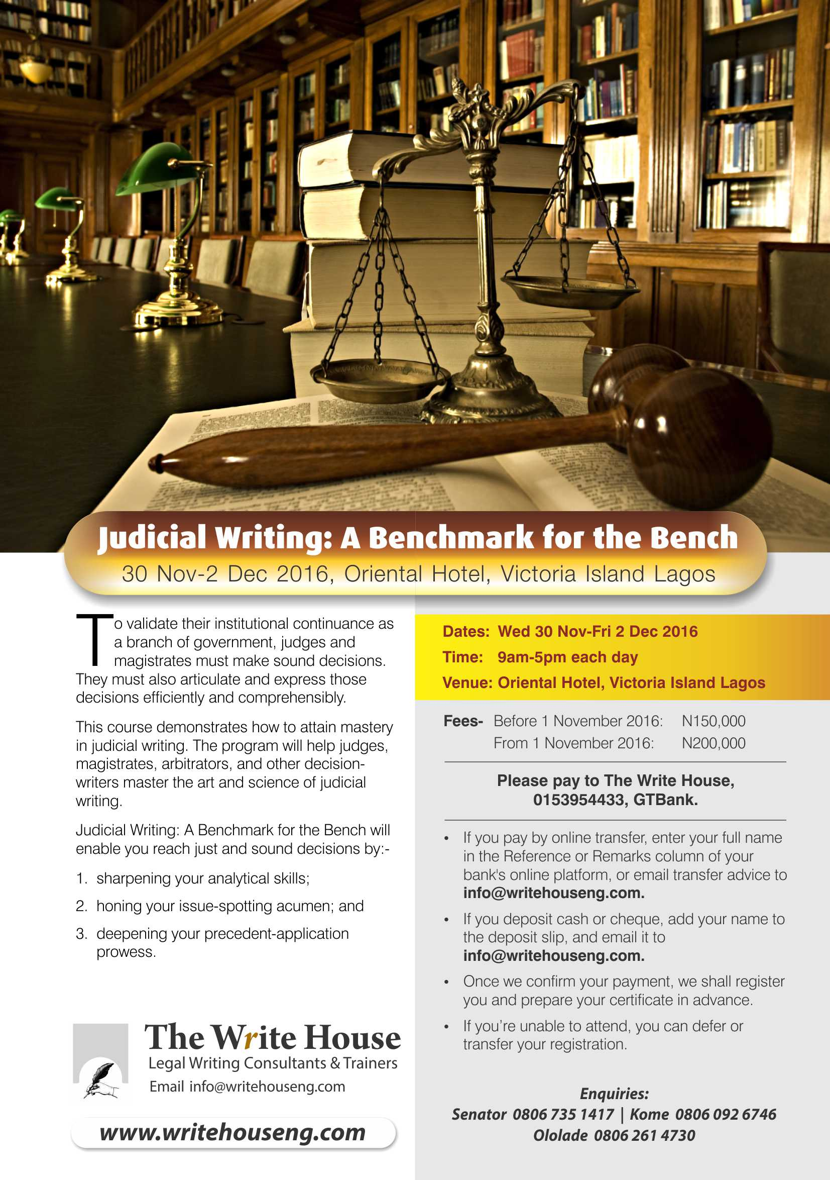 Judicial Writing: A Benchmark for the Bench, 30 Nov-2 Dec 2016, Victoria Island Lagos