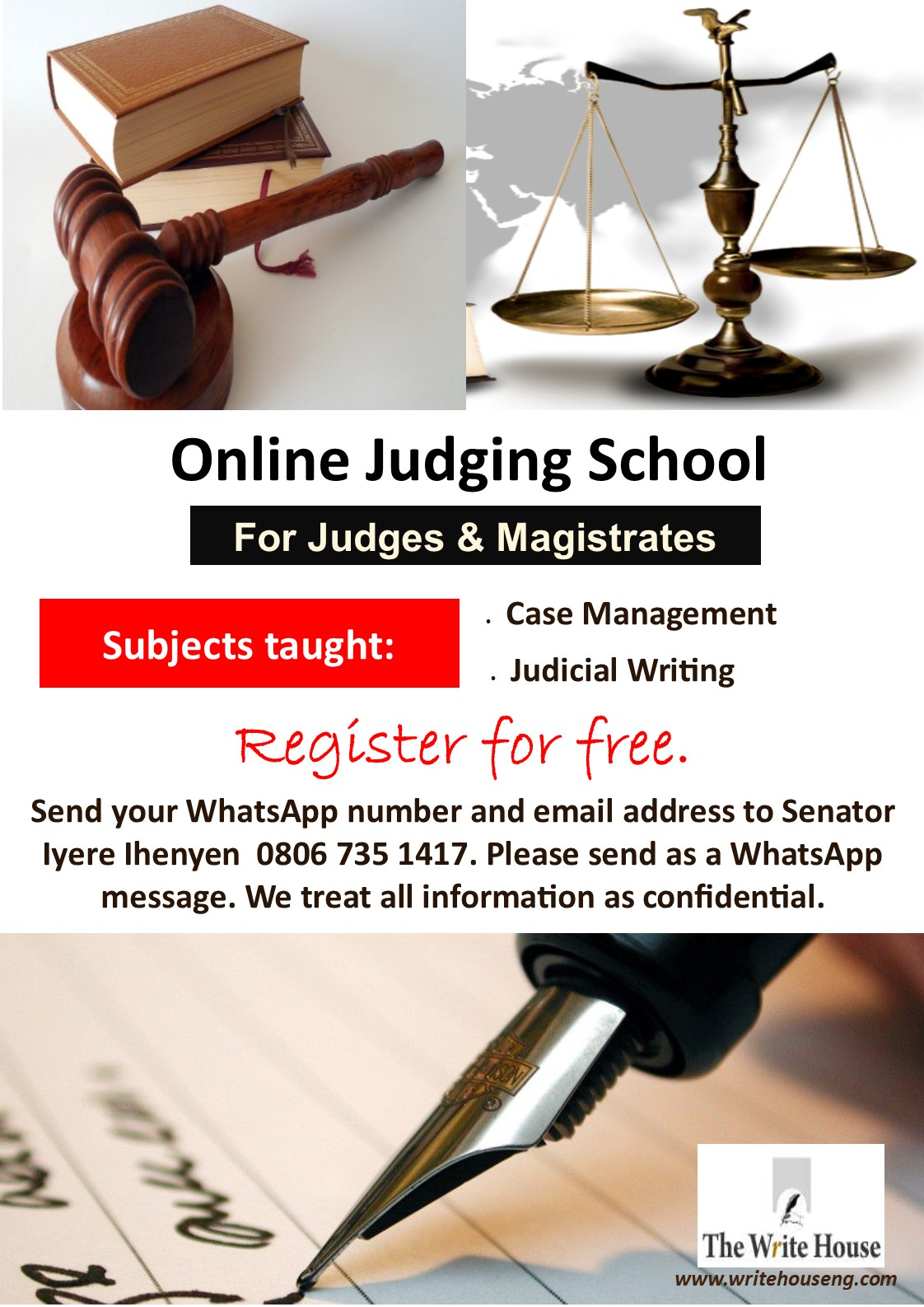 Free Online Judging School for Judges and Magistrates on WhatsApp